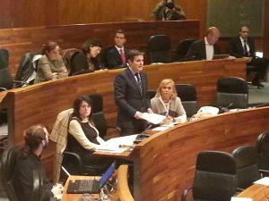 Pedro de Rueda, interviniendo en el Parlamento asturiano.