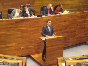 Pedro de Rueda, interviniendo el Parlamento asturiano.