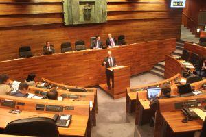 Luis Venta, en la tribuna de oradores de la Junta General.