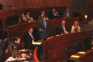 Pedro de Rueda, en su esca�o del Parlamento asturiano.