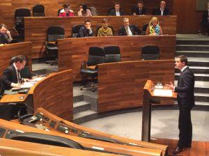 David González Medina, en la tribuna de oradores del Parlamento asturiano.