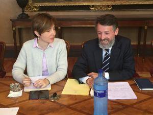 Matías Rodríguez Feito y Emma Ramos, en la Junta de Portavoces.