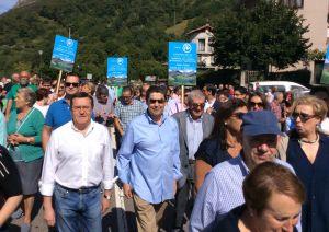 Rafael Alonso, en la manifestación por la navegabilidad en los embalses de Tanes y Rioseco.