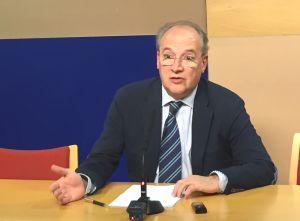 José Agustín Cuervas-Mons, durante su comparecencia ante los medios al término de la reunión.