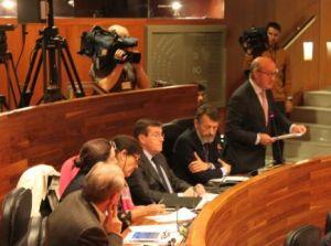 Luis Venta, durante el Pleno de la Junta General.