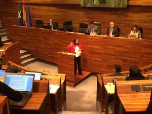García de la Mata, en el hemiciclo del Parlamento asturiano