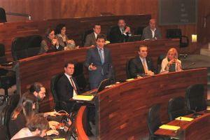 Pedro de Rueda interviene desde su escaño en la Junta General.