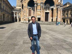 Pedro de Rueda, en la Universidad Laboral, tras su reunión con EscenAsturias.