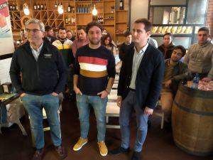 Mariano Marín, Andrés Ruiz y David González Medina, en Gijón.