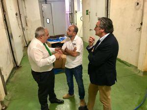 Los diputados Pablo González y Javier Brea con el responsable del matadero de Gijón
